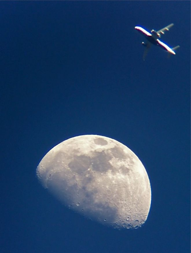 Waxing Gibbous Moon & Airplane