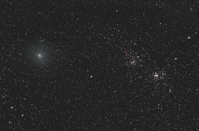 Comet Hartley and The Double Cluster